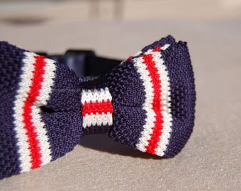 Cute Bow tie dog collar,wedding dog collar.Birthday party dog collar.Cute Navy with red dog wedding collar.pet collar, Birthday gift for dog