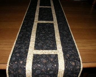 Christmas Quilted Table Runner, Christmas Table Runner Quilt, Christmas Decor, Black Gold Christmas, Holiday Table Runner, Quiltsy Handmade