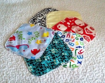 "SIX 8""x8"" Double Layer Flannel Reusable Cloth Baby Wipes"
