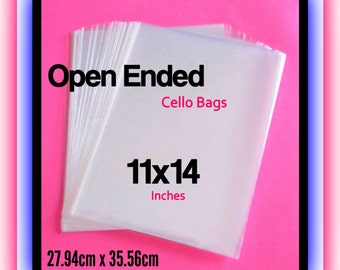 100 ( 11x14 ) Open Ended Cello Bags ..  Non Sealing Cello Bags, Clear Cello Bags, Clear Gift Bags, Print Sleeves 11x14, Photo Sleeves 11x14