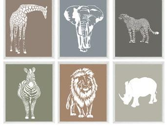 Safari Nursery Wall Art, Baby Boy Nursery, Neutral Nursery, Elephant, Giraffe, Lion, Cheetah, Zebra, Rhino, Safari Prints, Modern Nursery