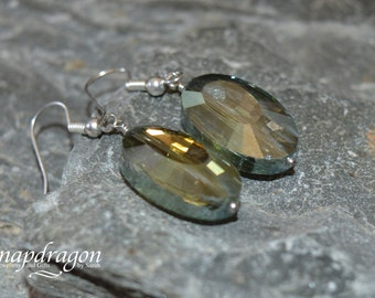 Faceted AB glass bead earrings