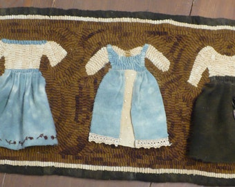 Primitive Hooked Rug Paper or Linen Pattern with Booklet- 'A Lady'