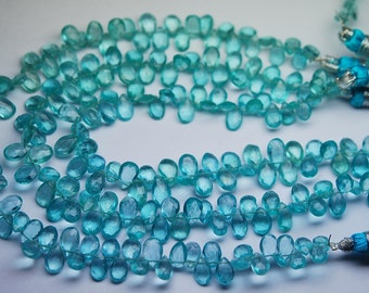 8 Inch Strand, Super Finest Quality,SKY Blue Apatite Faceted Pear Briolettes,Size 6.5-8mm Manufacturers Price