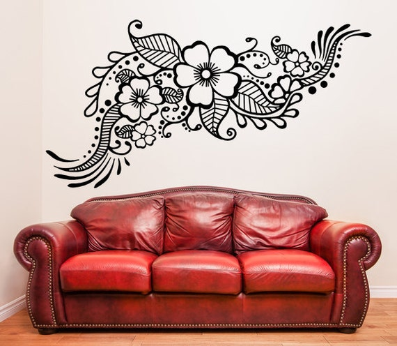 Vinyl Wall Decal Henna Pattern with Flowers Tattoo Design