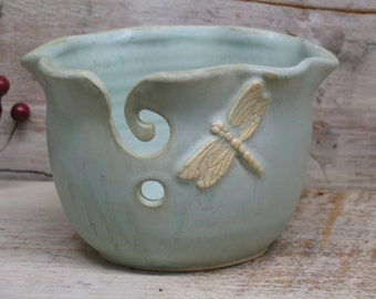 Wavey Dragonfly Yarn bowl - Knitting bowl - Handmade Pottery by Heidi