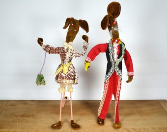"""Tall, skinny funky Rabbit Pair   Fantastic Fancy Dressed Rabbit Couple   Wire Arms, Legs and """"Stands""""   Brown Fake Fur & Colorful Clothing"""