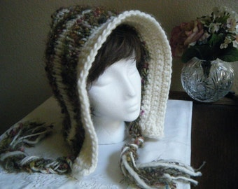 Outlander Inspired Hand Knit Hoodie Hat for Women or Teens
