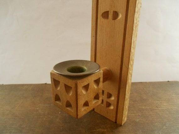 Wooden wall candle holder handmade wall sconce by tastevintage for Oxford turned wood candle holders