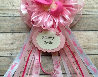 """Hot Pink Baby Shower Mommy To Be Corsage """"Baby Sleeping"""" Baby Shower  Corsage Hot Pink Theme Capias"""