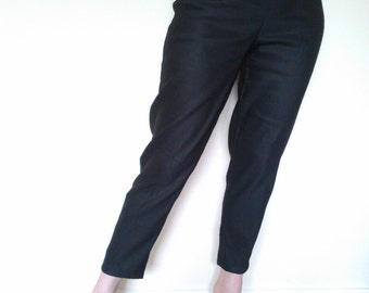 Black 1950s style cigarette pants, true vintage fit.