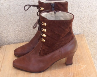Vintage Bally Leather Ankle Boots | Ladies Brown Leather and Suede High Heel Shoes  |Made in Italy Size 37 | 6.5 US