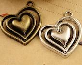 10pcs 28*24MM Antique bronze & Silver  Heart Charm Pendants
