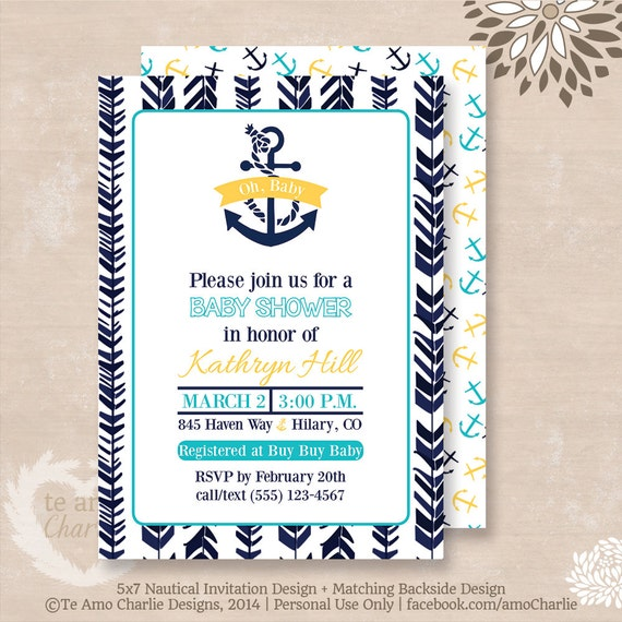 nautical baby shower invitations modern nautical theme ahoy it 39 s a