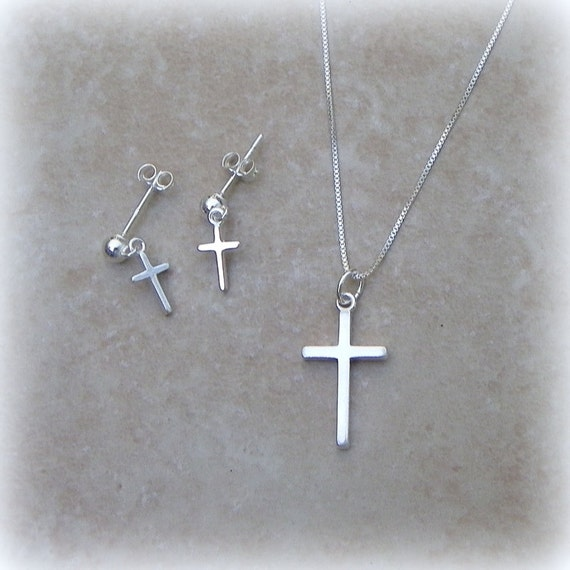 Sterling silver cross necklace and earring set, religious jewelry, spiritual jewelry, wedding jewelry,