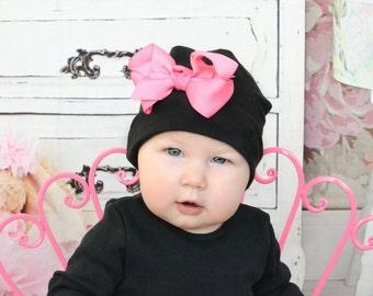 Baby Girl Beanie.Baby Beanie.Infant Beanie.Newborn Beanie.Newborn Hat.Baby Hat.Bow Beanie.Cotton Hat.Hospital Beanie. Black Cotton Beanie