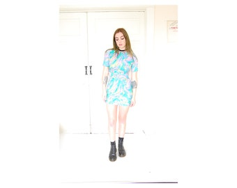 VTG 1960s 70s Trippy Pastel Painting Drawing Marble Print Colorful Mini Dress Mod Hippie XS