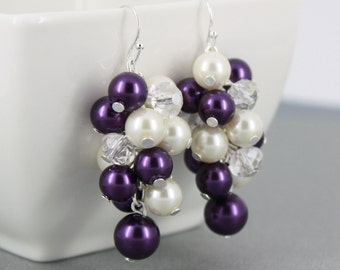 Purple and Ivory Earrings Chunky Earrings Bridesmaid Earrings Bridesmaids Gifts Cluster Earrings Purple Earrings