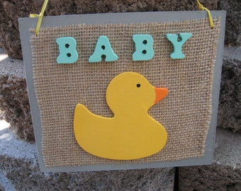 Baby Wall Hanging Sign Plaque Grey