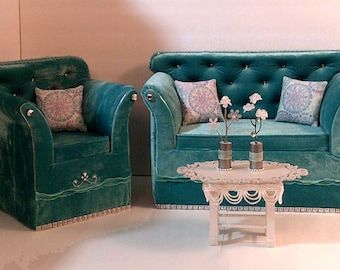 American Girl Doll  Furniture Velvet Living Room Set