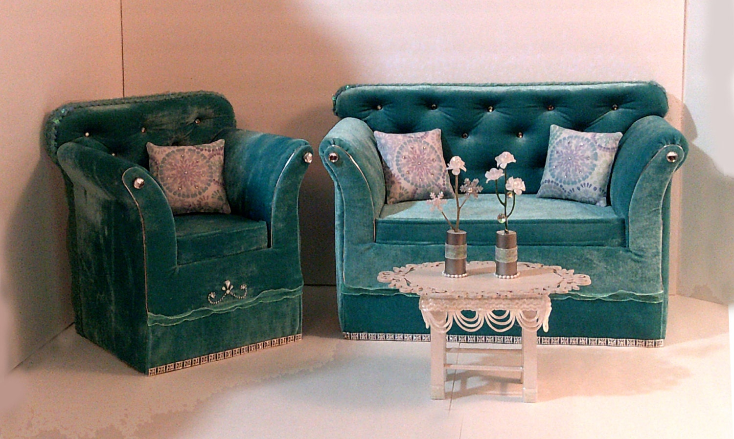 18 Doll Furniture Velvet Living Room Set