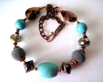 turquoise and copper  chunky necklace,    not too big  but bold
