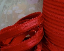3yds Elastic Satin Shiny Red Headbands 1/2 inch wide Elastic Bands Bra Strap lingerie sewing projects Valentine's Day Red
