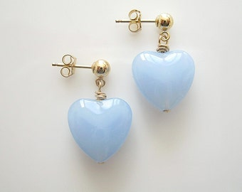 Blue Chalcedony Heart on Gold Filled Earrings, Studs, Vintage Style
