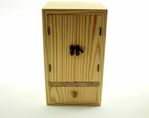 Wood Cabinet Small Statue Collectible Display Box Cupboard Handmade Chest 2 Doors and 1 Drawer (Statue Cabinet - Unfinished)