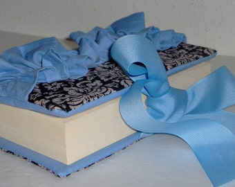 Beautiful Black Damask/Baby Blue Bible Cover with Ruffles