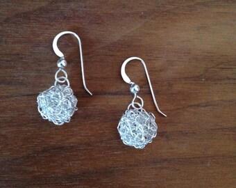 Crochet sterling silver Snowball earrings