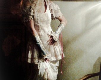 Steampunk Victorian Wedding Dress Upcycled doily Alternative Marie Antoinette