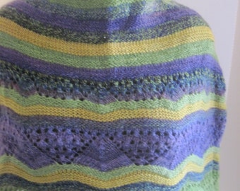 Mardi Gras Hand Knit Caplet made with Handspun Yarns