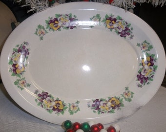 SALE! was 10.00 Vintage Oval White Platter with Pansies T