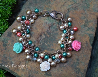 Glass Pearls and Rose Bracelet
