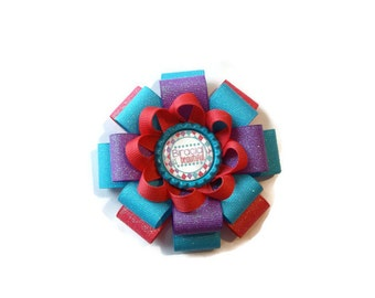 Biracial is Beautiful Loopy Flower Bow (3 1/2 inches wide)