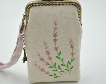 Handmade Pink Lavender Embroidery Coin Purse - Cotton fabric with silver metal frame