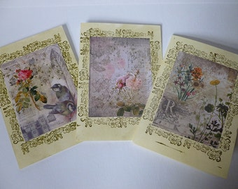 Pack of three vintage effect handmade cards.