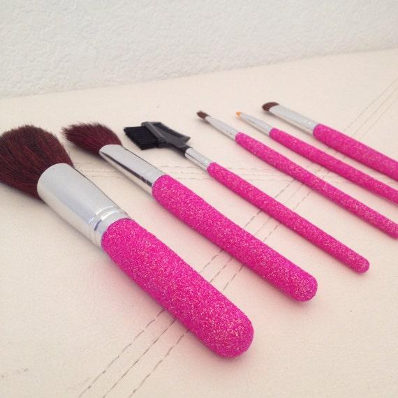 SALE BUBBLEGUM PINK Glitter Makeup Brush Set 6 by ...
