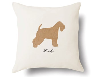 Personalized Wheaten Terrier Pillow - Off White 100% Cotton - 18x18 -  Name or Text Embroidered - Pet Silhouette - 4 Color Choices