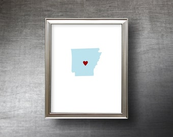 Arkansas Art 8x10 - 4 Color Choices - UNFRAMED Hand Cut Silhouette - Arkansas Print - Wedding Gift - Personalized Name or Text Optional