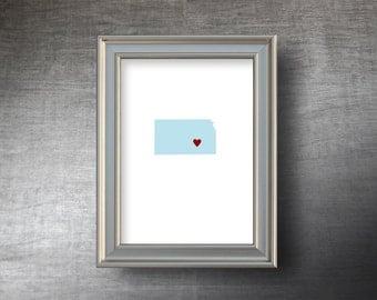 Kansas Map Art 5x7 - Hand Cut Silhouette - Kansas Print - Kansas Wedding Gift - Personalized Name or Text Optional