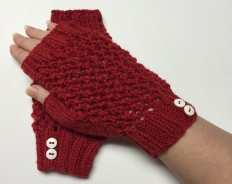 Cherry Red Lace Fingerless Mitts with White Buttons