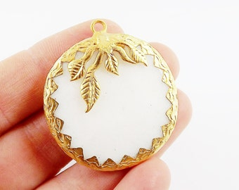36mm White Jade Faceted Stone Pendant with Leaf Detail - 22k Matte Gold Plated 1pc