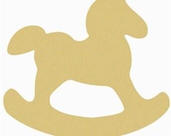 Rocking Horse, Craft, Wooden Unfinished, Shape, Paintable