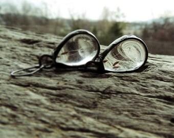 dandelion danging earrings,  terrarium earrings,  MARIAELA, hippi, boho, romantic, nostalgic