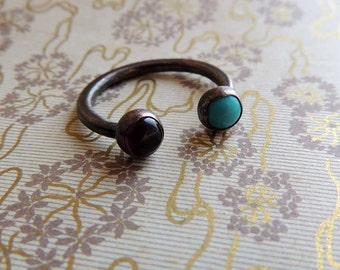 Minimalist Ring, gemstone ring, copper ring, midi rig, stack ring, copper, turquoise amethyst