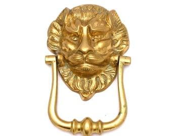 Large Lions Head Brass Door Knocker, Traditional Door Knocker, Classic Door Knocker, Ornate, Large Door Knocker, Solid  Brass Door Knocker