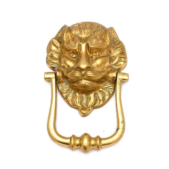 Large lions head brass door knocker traditional by twotimevintage - Large lion head door knocker ...
