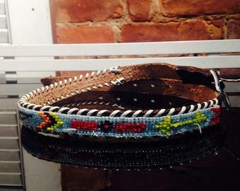 Hand beaded black leather belt, Native American, c1950